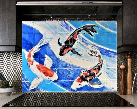 Backsplash, Hand painted, Decorative tiles, Koi, CUSTOM SIZES.