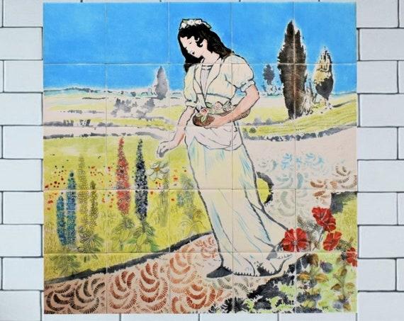 Backsplash tile kitchen, Handmade, tile mural, Hand painted tile, Splashback.