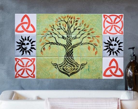 Tile, Mural, Backsplash Kitchen Ideas, Tree of Life Handmade, CUSTOM SIZES.