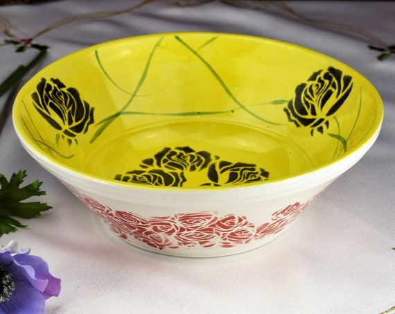 Pottery bowl, Black Rose,Hand painted, Serving bowl, gift ideas.