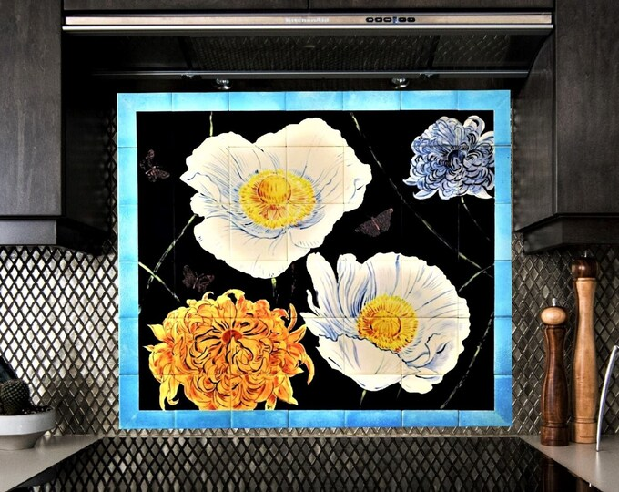 Backsplash tiles, 28in x 24in, Hand painted, Kitchen, bathroom, CUSTOM SIZES AVAILABLE.