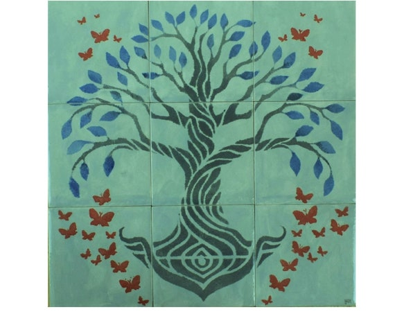 Kitchen Splashback, Tile mural, Tree of Life Handmade, Backsplash, hand painted tile.