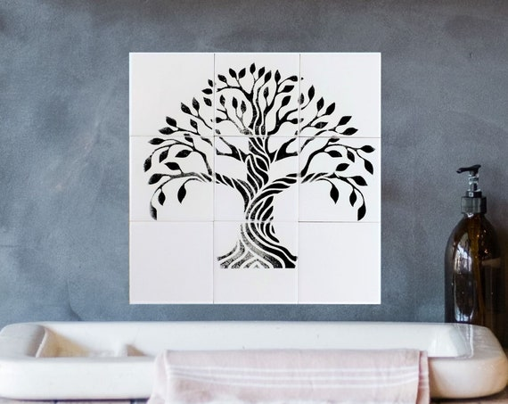 Decorative tiles, Tree of Life Handmade, backsplash,Hand Painted Tiles, Tile mural, CUSTOM SIZES AVAILABLE. 12in x 12in.