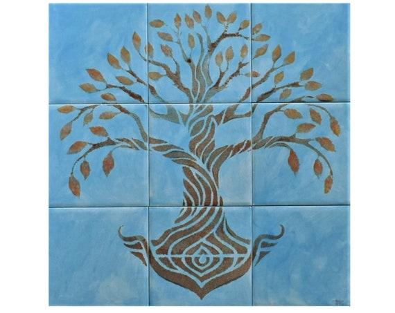 Tile mural, Tree of Life Handmade, Sky Blue, Ceramic Tile, CUSTOM SIZES.