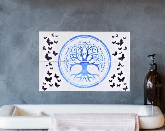 Backsplash, Splashback for kitchens, Tree of Life Handmade, Tile mural, Hand painted tile.