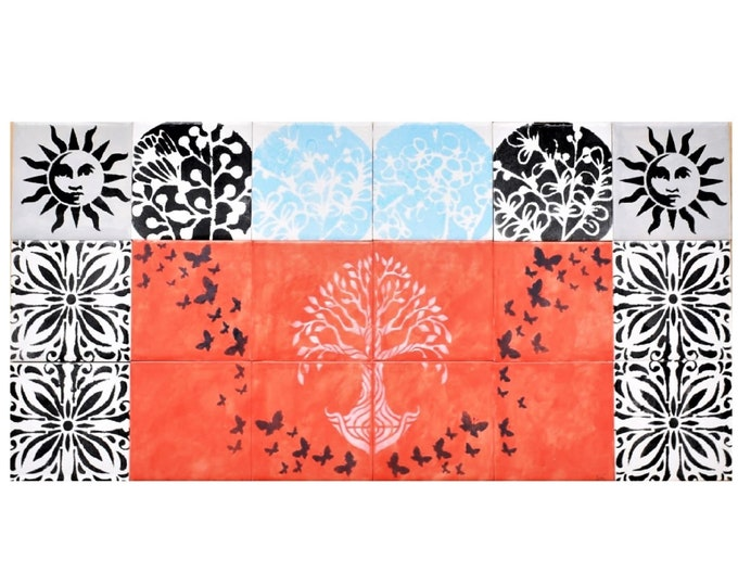 Fireplace Tiles, Handmade, Tree of Life, Backsplash, Ceramic Tile, CUSTOM SIZES AVAILABLE.
