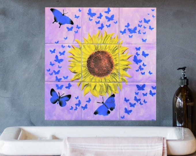 Tile Mural, Kitchen Backsplash Tile, Hand painted, Sunflower decor, Butterfly wall art, Splashback
