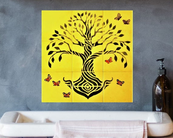 Wall tile for kitchen ideas, Tree of Life Wall Art, Handmade, CUSTOM SIZES AVAILABLE. 12in x 12in.