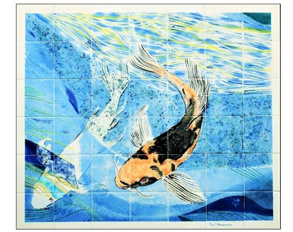 Stove backsplash, Splashback for Kitchens, Koi Art, Hand painted tile, Backsplash Wall Tile, Custom tile.