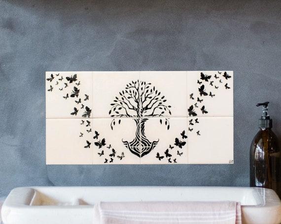 Backsplash Tile, Tile mural, Tree of Life Handmade, Splashback for kitchens, Hand painted.