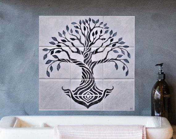 Splashback for kitchens, Grey, Tile mural, Tree of Life Handmade, Backsplash Tile.