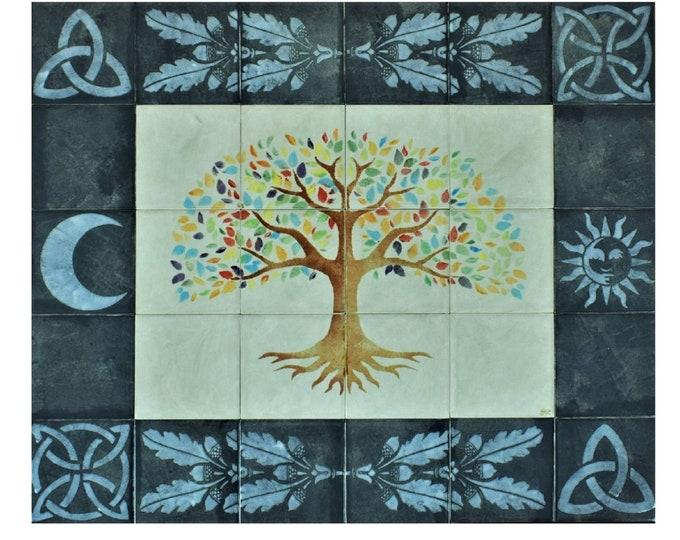 Tile mural, Kitchen Backsplash, Hand paint tiles, Wall decor, ceramic tiles, Tree of Life Handmade, CUSTOM SIZES AVAILABLE. 24in x 20in.