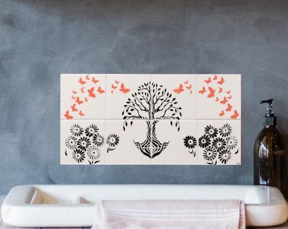 Tree of Life, Backsplash Tile, Hand painted tile, Tile mural, Splashback for kitchens