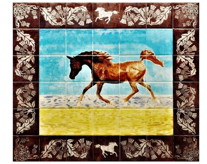 Tile mural, Kitchen backsplash, Arabian Horse, Splashback, Wall Art, custom sizes available. 24in x 28in