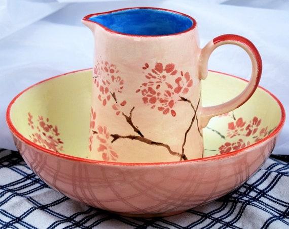 Pottery Handmade, Jug and Bowl set, Christmas, gifts, Ceramic, Housewarming gift.