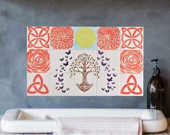Backsplash Tile, Hand Painted Tile, Tree of Life Handmade, Kitchen Splashback.
