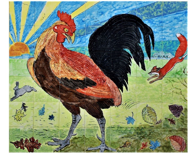 Backsplash, Tile mural, 28in x 24in, Hand paint tile, Rooster, Splashback, Wall decor, CUSTOM SIZES AVAILABLE
