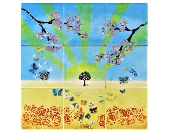 Wall Tiles for Kitchen, Decorative tiles, Free Shipping, CUSTOM SIZES AVAILABLE. 12in x 12in