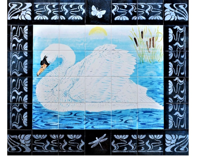 Back splash tile, mural, 28in x 24in, Hand Painted, 42 tile set,Kitchen, Wall decor, CUSTOM SIZES AVAILABLE.