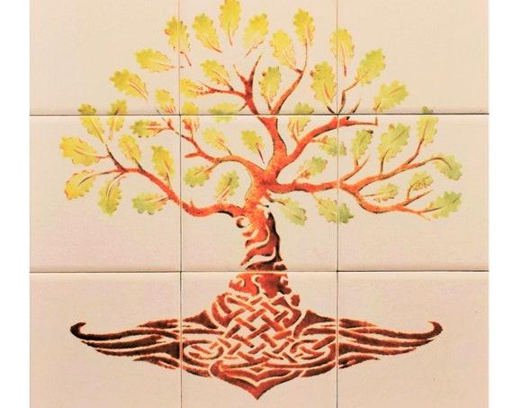 Tree of Life, Hand Painted, Tile mural, DIY Kitchen Backsplash Ceramic Tile