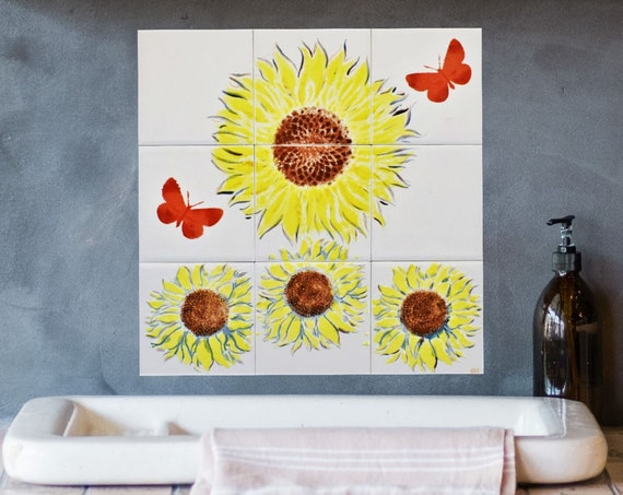 Backsplash tile, Splashback for kitchens, Tile mural, Sunflower Art.