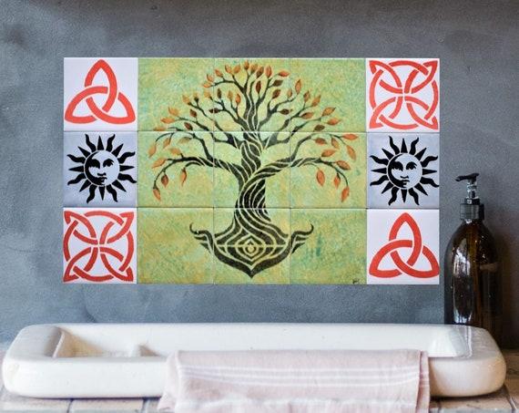Backsplash, Hand Painted Tile, Tree of Life Handmade, Tile Mural, Kitchen Splashback.