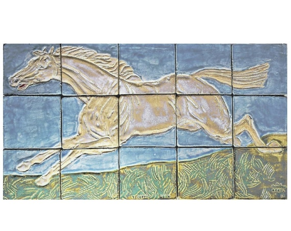 Backsplash, Bespoke Handmade Tiles, White Horse. ONE OF A KIND.