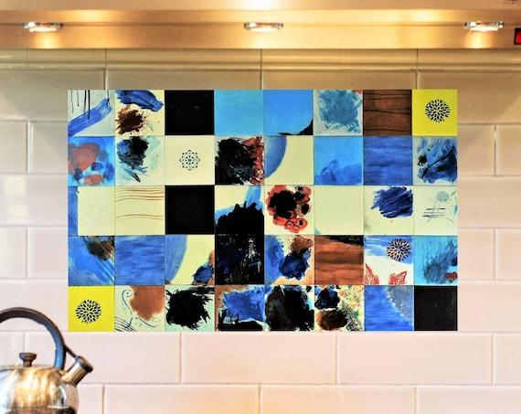 Kitchen backsplash Ideas, Hand Painted, Tile Mural, Modern, CUSTOM SIZES.
