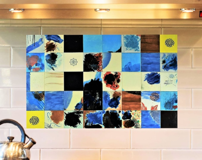 Hand painted decorative tile backsplash, specially created for a modern kitchen. CUSTOM DESIGNS AVAILABLE. 32in x 20in.