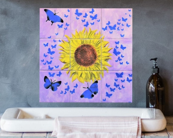 Behind the stove backsplash, Floral wall art diy backsplash, Hand paint tile, Handmade tile