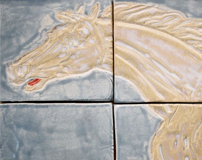 Craftsman tiles, Bespoke Handmade Tiles, 3d wall art, Kitchen backsplash, Hand painted tiles, Horse painting, backsplash