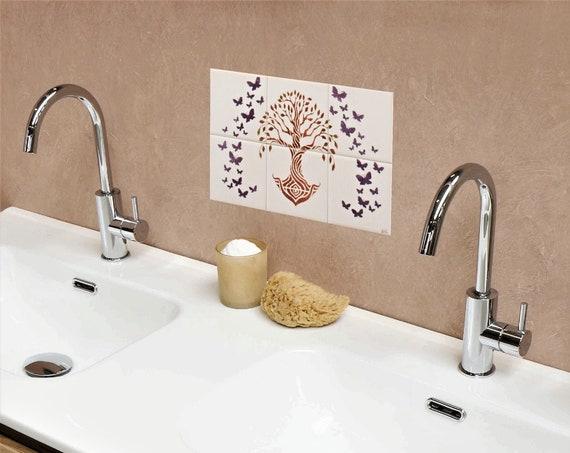Sink Backsplash, Backsplash tile, Tree of Life Handmade 100%, Tile mural, Splashback for kitchens, hand painted tile.