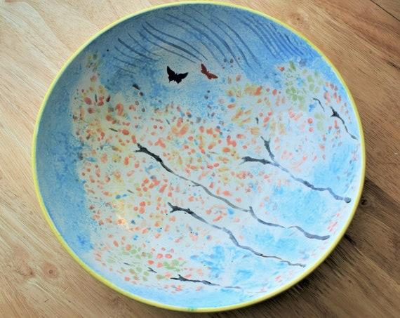 Fruit bowl, Pottery Handmade, Ceramic, Hand painted, Dolphin, Pottery bowl