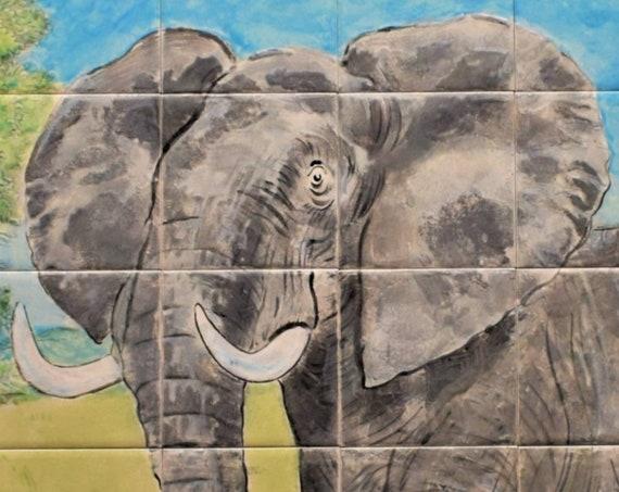 Backsplash Tile, Elephant, Custom Tile mural, hand painted tile.***We Can Also Do Any Size or Design For You***
