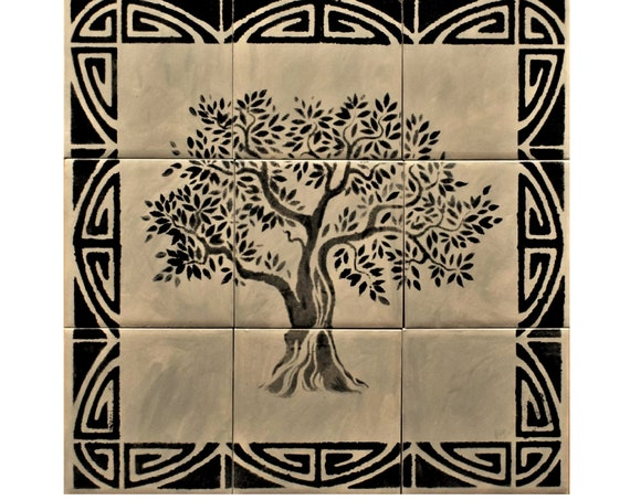 Tile mural, Tree of Life Handmade, Ceramic Tile.