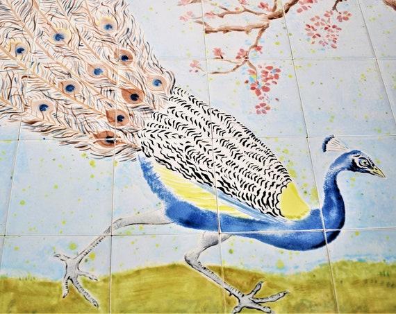 Backsplash tile ,Kitchen Splashback, Tile mural, Peacock Painting, Hand painted tile