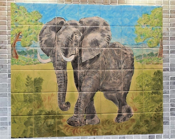 Kitchen Backsplash Ideas, Elephant, Custom Tile mural, hand painted tile.***We Can Also Do Any Size or Design For You***