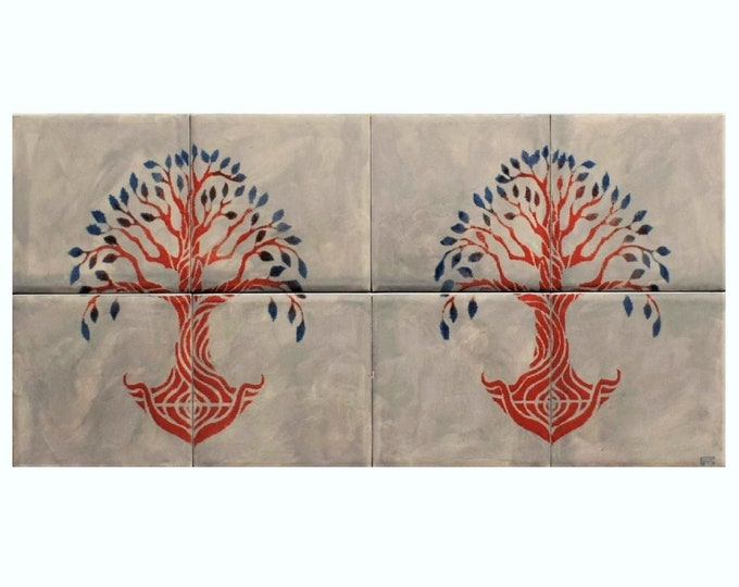 Tree of life Backsplash, Tile mural, Hand Paint Tile, Ceramic Tile, Tree of Life Handmade, CUSTOM SIZES AVAILABLE. 16in x 8in.