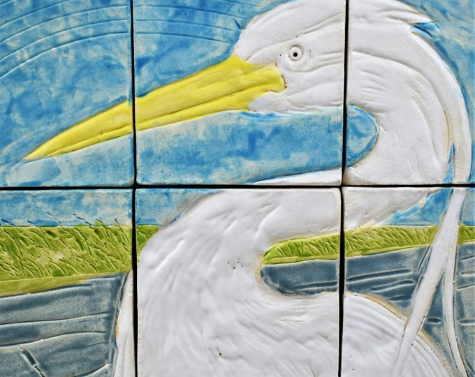 Backsplash tiles, Heron Tile, Framed and Ready to Hang, Wall decor, Wall art.