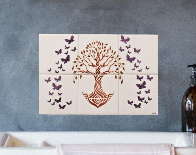 Kitchen backsplash, Tile Mural, Tree of Life Handmade, Hand paint tile, CUSTOM SIZES AVAILABLE. 12in x 8in.