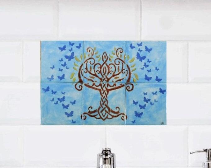 Backsplash, 12in x 8in, Ceramic tile, Tree of life wall art, Splashback, tile mural, custom sizes available.