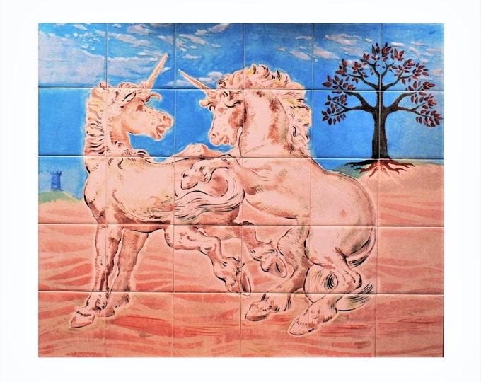 Back splash tile, Hand painted, tile mural, Unicorn, Tree of Life Handmade, Wall decor,CUSTOM SIZES AVAILABLE. 24in x 20in.