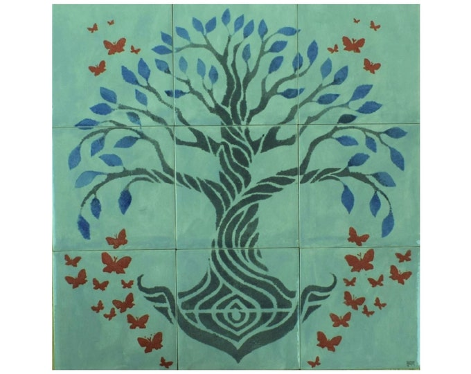 Tile mural, Hand Painted Tiles, Tree+of+ Life, backsplash, wall decor, custom sizes available. 12in x 12in.