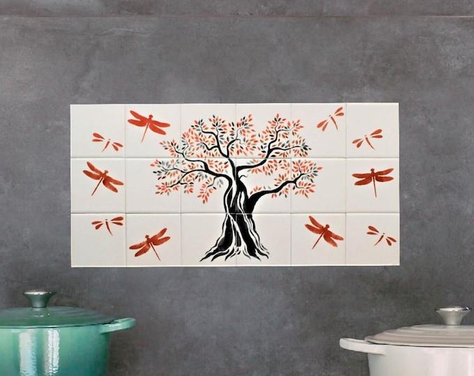 Tree+of+life, Backsplash, Hand painted tiles, tile mural, Ceramic tiles, wall decor, CUSTOM SIZES AVAILABLE. 12in x 24in.