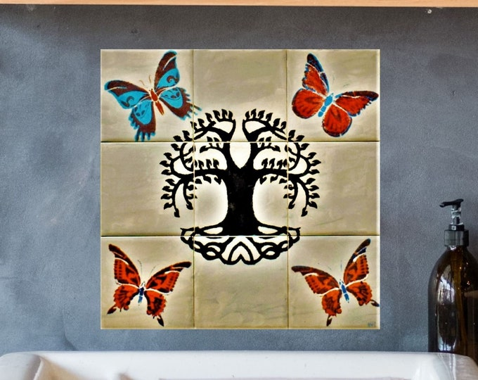 Kitchen Backsplash, Tile murals, Hand paint tiles, Butterfly, Grey, Tree+of+Life Wall Art. CUSTOM SIZES AVAILABLE. 12in x 12in.
