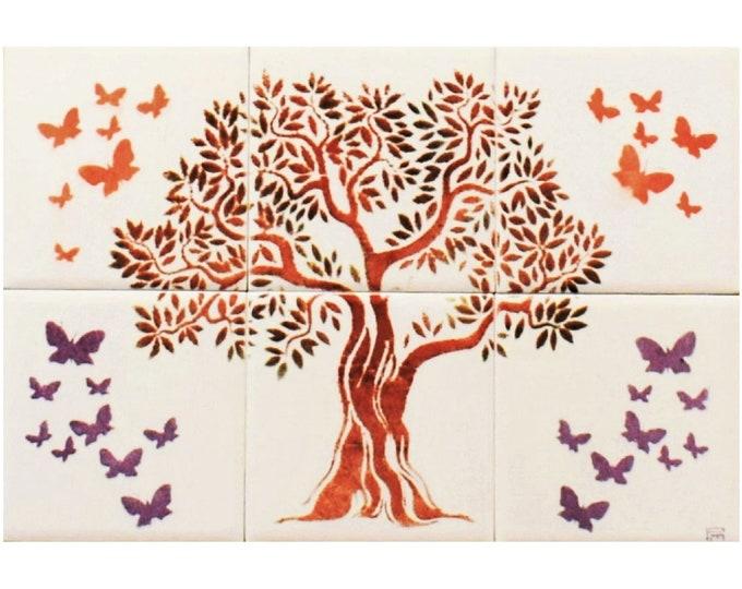 Tile mural, Tree of Life Splashback, Tree of Life Handmade, Wall art, CUSTOM SIZES AVAILABLE. 12in x 8in.