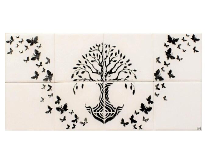 Tile mural, Tree of Life Handmade, Ceramic tile, Wall decor,CUSTOM SIZES AVAILABLE. 16in x 8in.