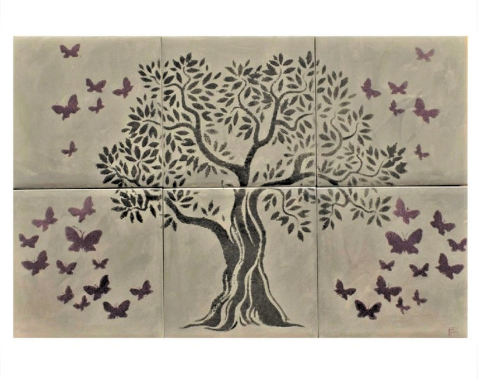 Backsplash, Hand painted, tile mural, Butterfly, Wall decor, Grey Tile, Tree of Life Handmade, CUSTOM SIZES AVAILABLE., 12in x 8in.