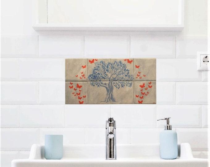 Tile mural, Kitchen Backsplash, Hand Paint Tile, Tree of Life Handmade, Wall decor, CUSTOM SIZES AVAILABLE. 16in x 8in.