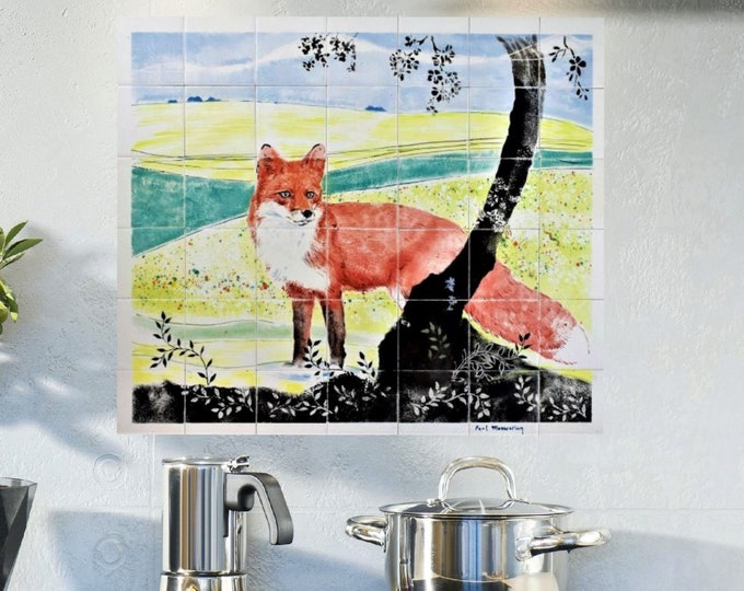 Kitchen Backsplash, Hand paint Tiles, Red Fox, tile mural, Wall art, CUSTOM SIZES AVAILABLE. 28in x 24in.